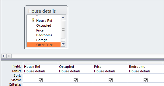 How to use query by selection in access for Table design grid access