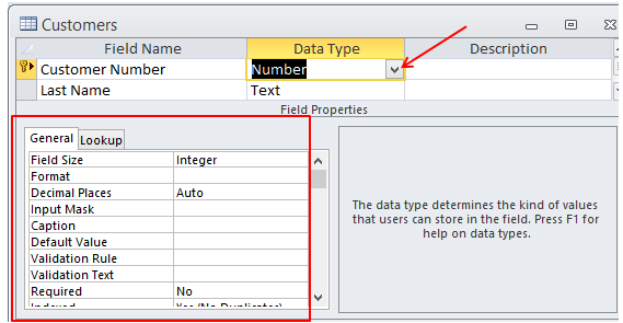 How to Format a Table Field Properties in Access