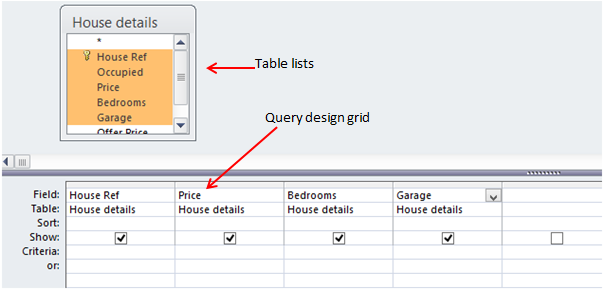 What is query in access how to create for Table design grid access