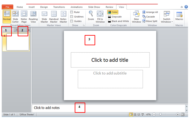 how to get outline view in powerpoint 2010