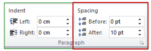 change the spacing before and after selected paragraphs